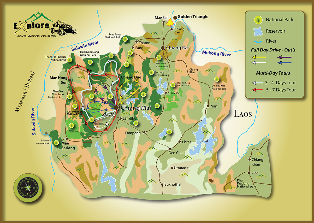 Chiang Mai Full Loop Tour Map