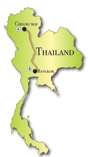 Map of our 4x4 tours in Thailand.