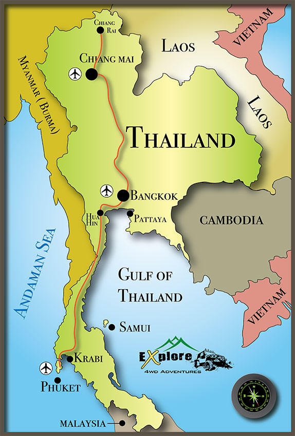 Map of 4x4 adventure tours in Thailand